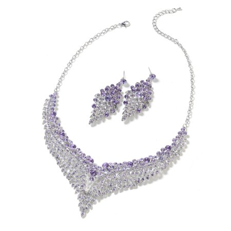 Bridal Australian Crystal Earrings and Statement Bib Necklace Jewelry Set for Women 20