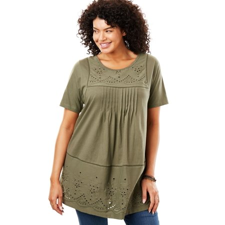 Plus Size Embroidered Eyelet Knit Pintucked Tunic 2 Color Knit Tunic