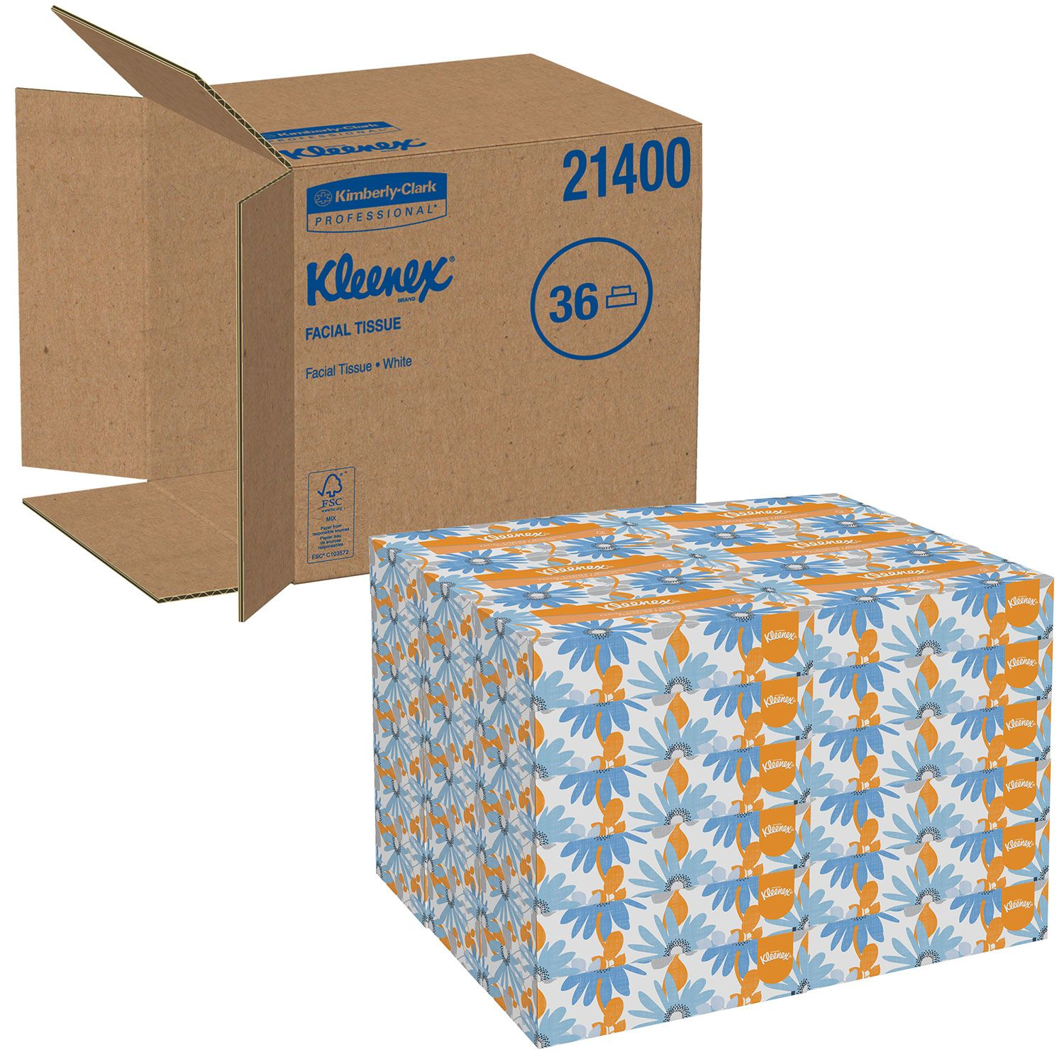 Kleenex White 2-Ply Facial Tissue Pop-Up Box (100/box, 36 boxes/carton)
