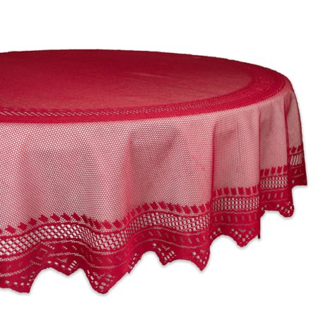 DII Red Nordic Lace Tablecloth 70 Round, 100% Cotton ()
