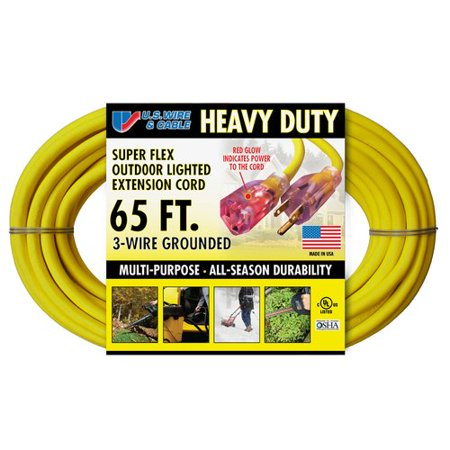 US Wire and Cable Heavy Duty 65\' Lighted Extension Cord, Yellow ...