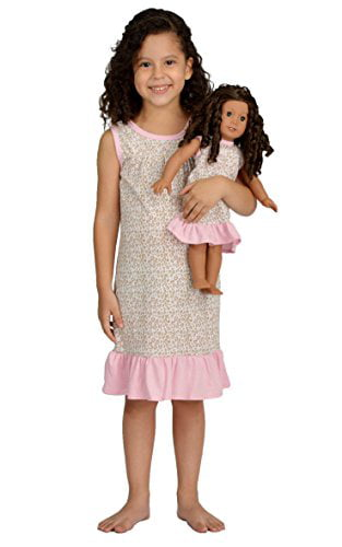 Dollie /& Me Girl 8 10 and Doll Pink Nightgown Pajama Clothes fit American Girls