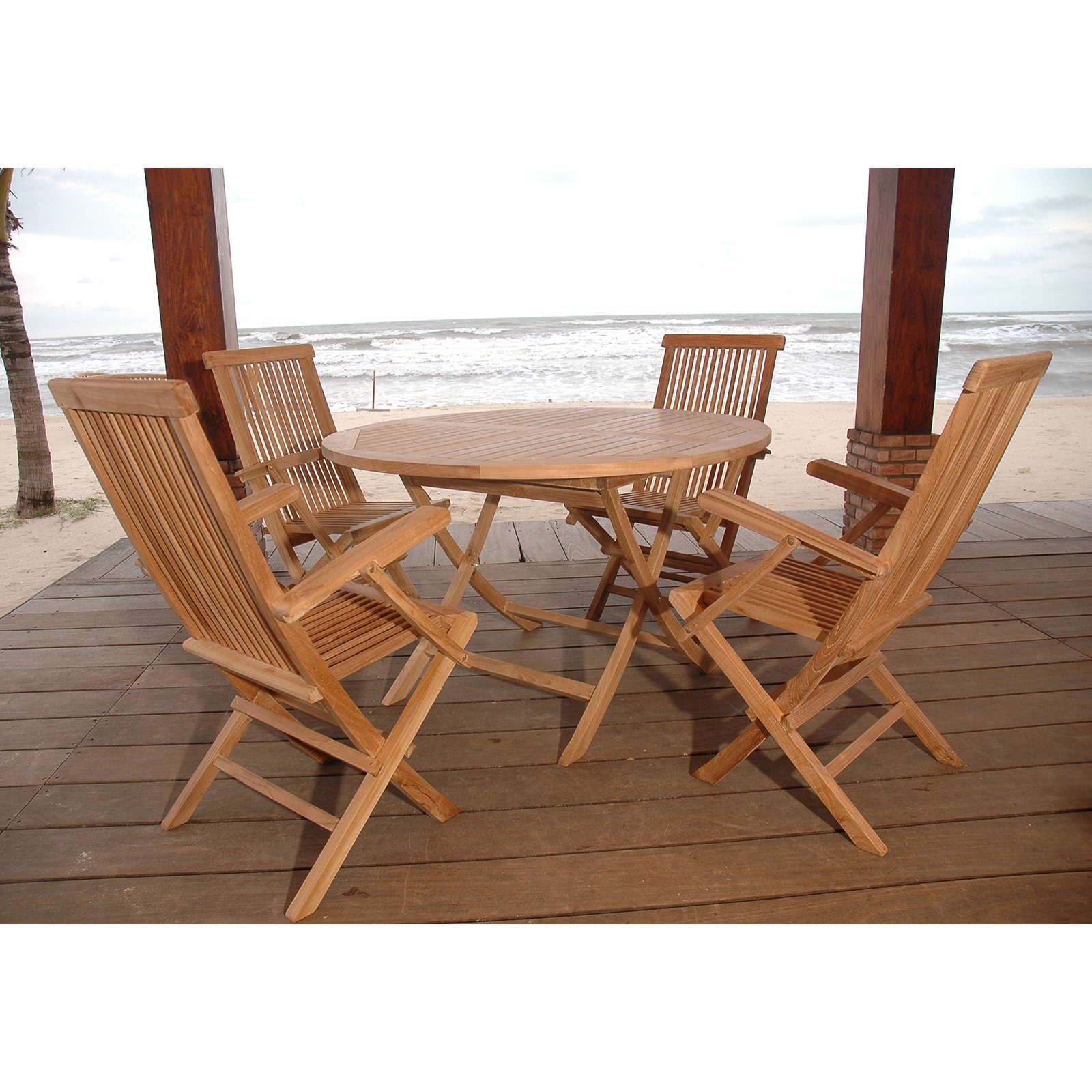 Anderson Teak Classic 5 Piece Folding Patio Dining Set