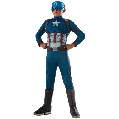 Marvel's Captain America Civil War Muscle Chest Deluxe Captain America Child Halloween (Men's Deluxe Priest Costumes)