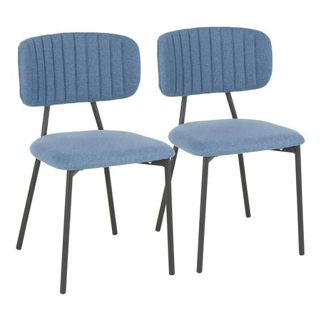 Set of 2 Blue Fabric Seat with Black Metal Frame Bouton Chair 32