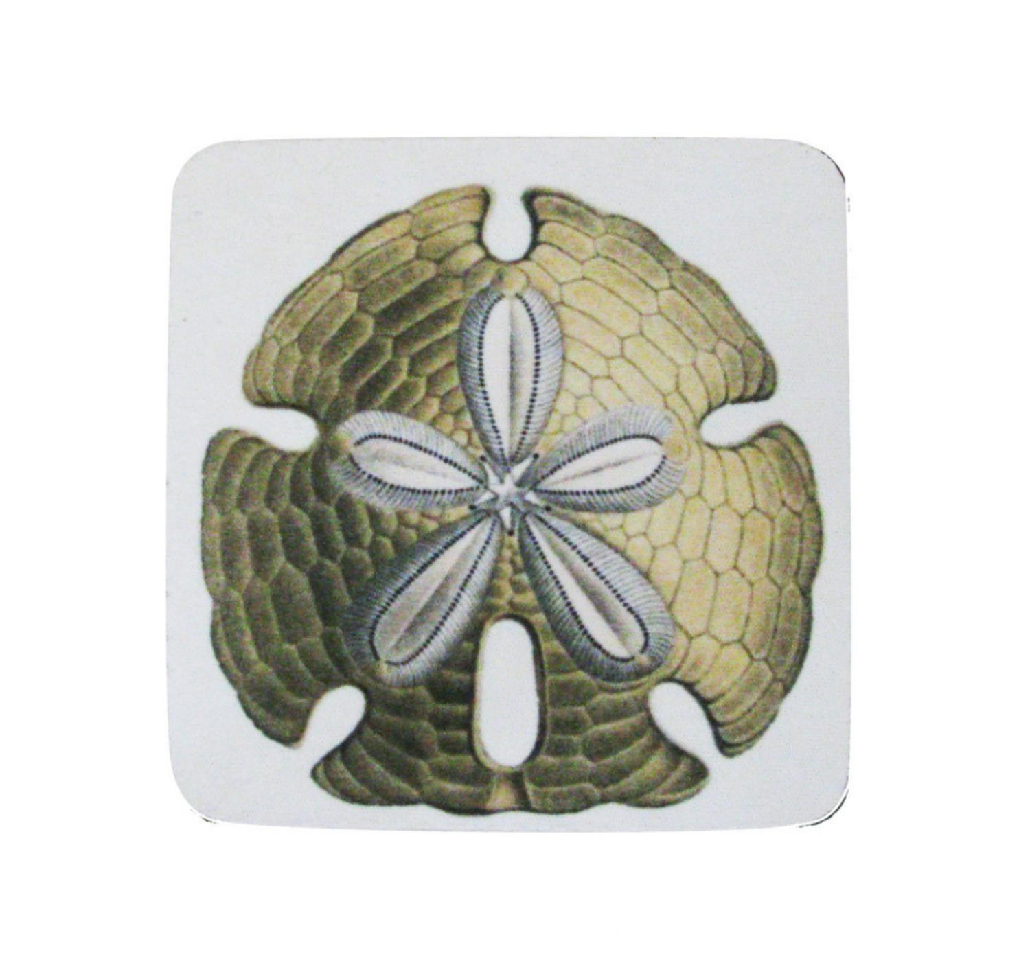 Pack of 8 Absorbent Nautical Style Sand Dollar Print Cocktail Drink Coasters 4""