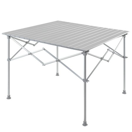 Gymax Aluminum Folding Picnic Camping Table Lightweight Roll-Up In/Outdoor Storage Bag ()