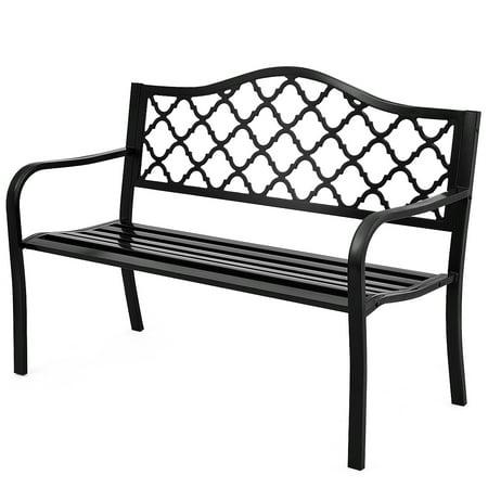 Topbuy Outdoor Chair Garden Patio Bench Cast Iron Frame Black ()