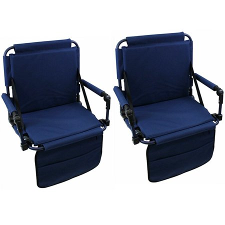 Set of 2 Folding Durable Stadium Seat Chair for Bleachers with Back & Arm Rest With Shoulder Strap Blue Folding Stadium Chairs