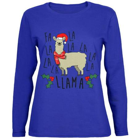 Christmas Fa La Llama Womens Long Sleeve T - Christmas Llama