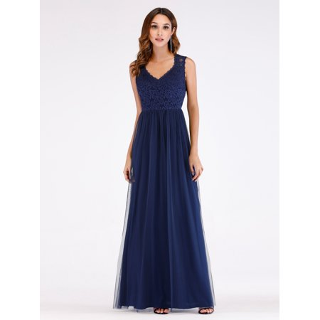 Ever-Pretty Womens Sexy Lace V-Neckline Long Evening Party Prom Dresses for Women 07509 Navy Blue US4