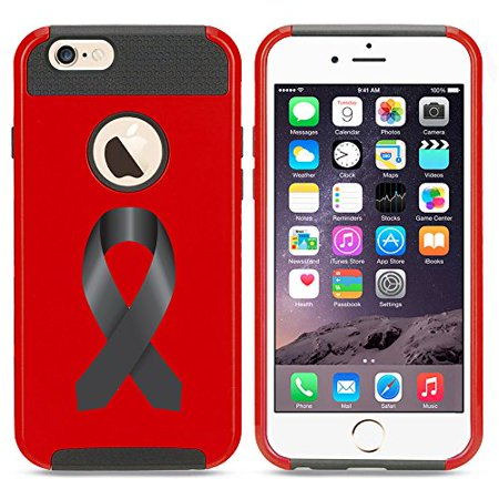 For Apple iPhone 7 Shockproof Impact Hard Soft Case Cover Melanoma Color Awareness Ribbon (Red) (Red Ribbon Awareness)