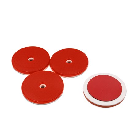 Round Reflector (Universal 4Pcs Red Plastic Round Shape Car Reflective Plate Warning Reflector)