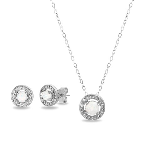 Womens Lab Created Opal Post Earring and Pendant Necklace -