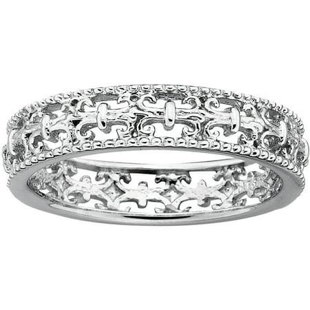 Sterling Silver Polished Fleur De Lis Ring Spinel Fleur De Lis
