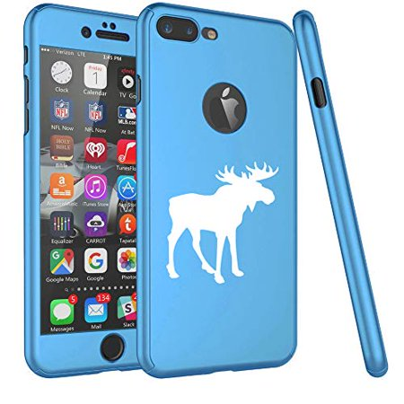 360° Full Body Thin Slim Hard Case Cover + Tempered Glass Screen Protector for Apple iPhone Moose (Light-Blue, for Apple iPhone 6 Plus / 6s Plus)