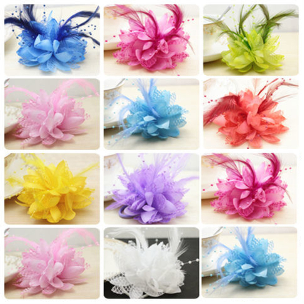 Heepo Bridesmaid Bridal Wedding Party Corsage Faux Feather Flower Wrist Hair Band