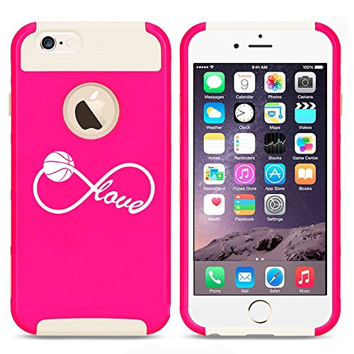Apple iPhone 5 5s Shockproof Impact Hard Case Cover Infinite Infinity Love for Basketball (Hot Pink-White),MIP
