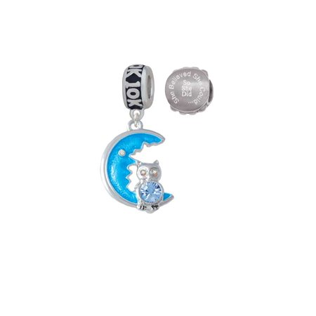 Blue Moon Beads Charms (Silvertone Large Blue Owl on Hot Blue Moon 10K Run She Believed She Could Charm Beads (Set of)