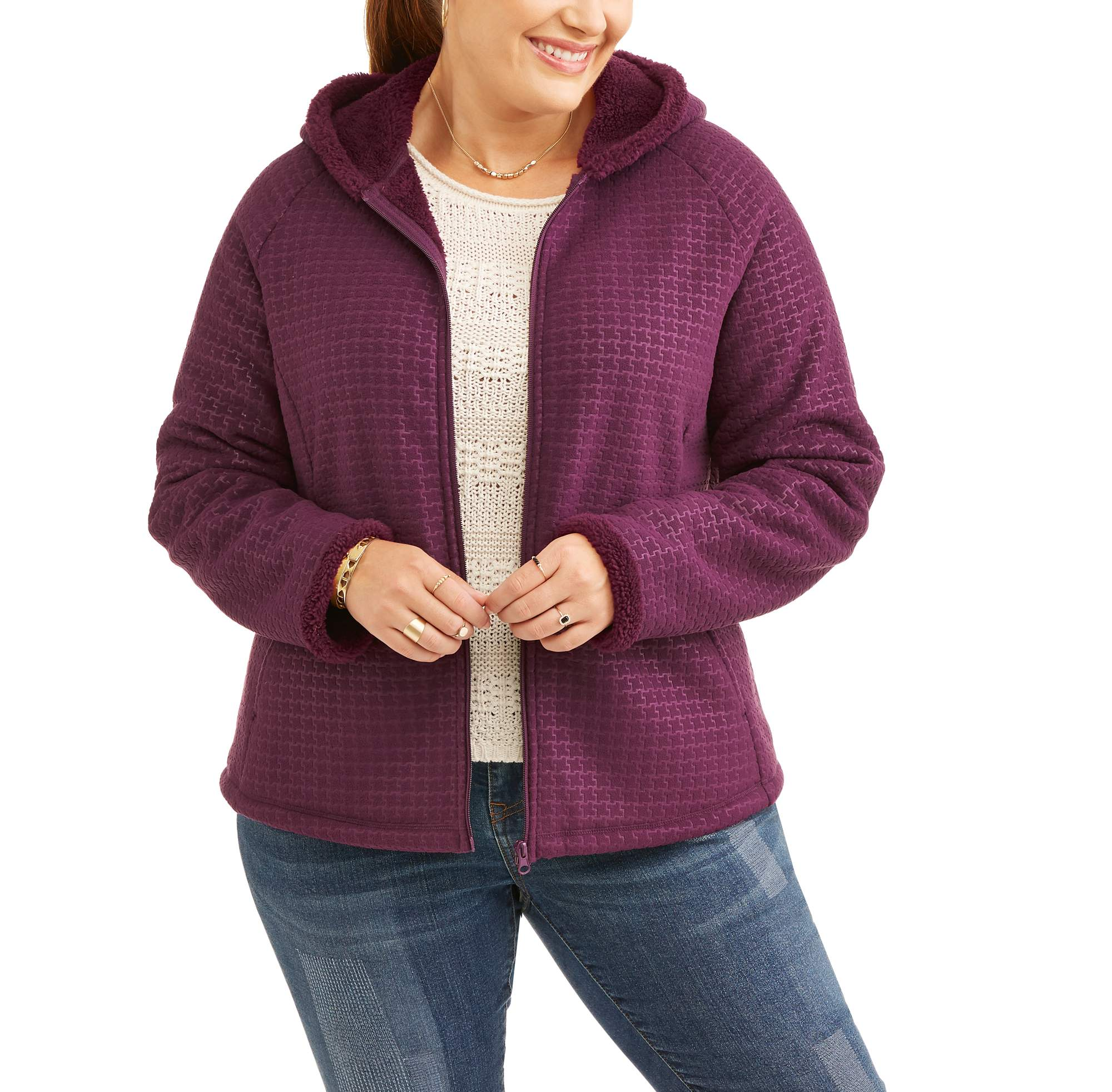Faded Glory Women's Plus-Size Microfleece Hoodie With Cozy Sherpa Lining
