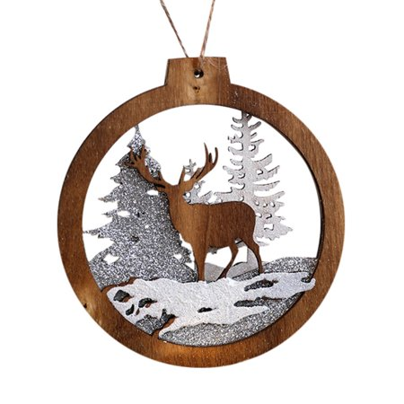 Iuhan Home Decor Gifts Wooden Pendant Christmas Tree Ornament Party Hanging Decor ()