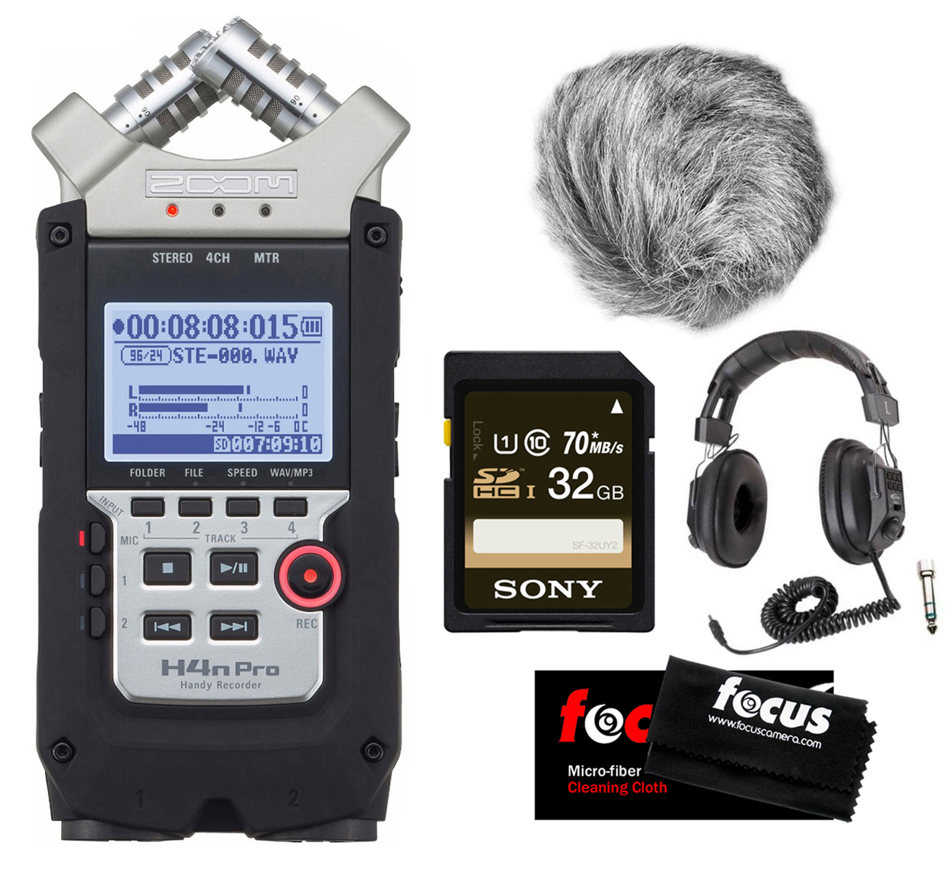 Zoom H4N PRO Four-Track Handy Audio Recorder w/ Wind Screen & Accessory Bundle