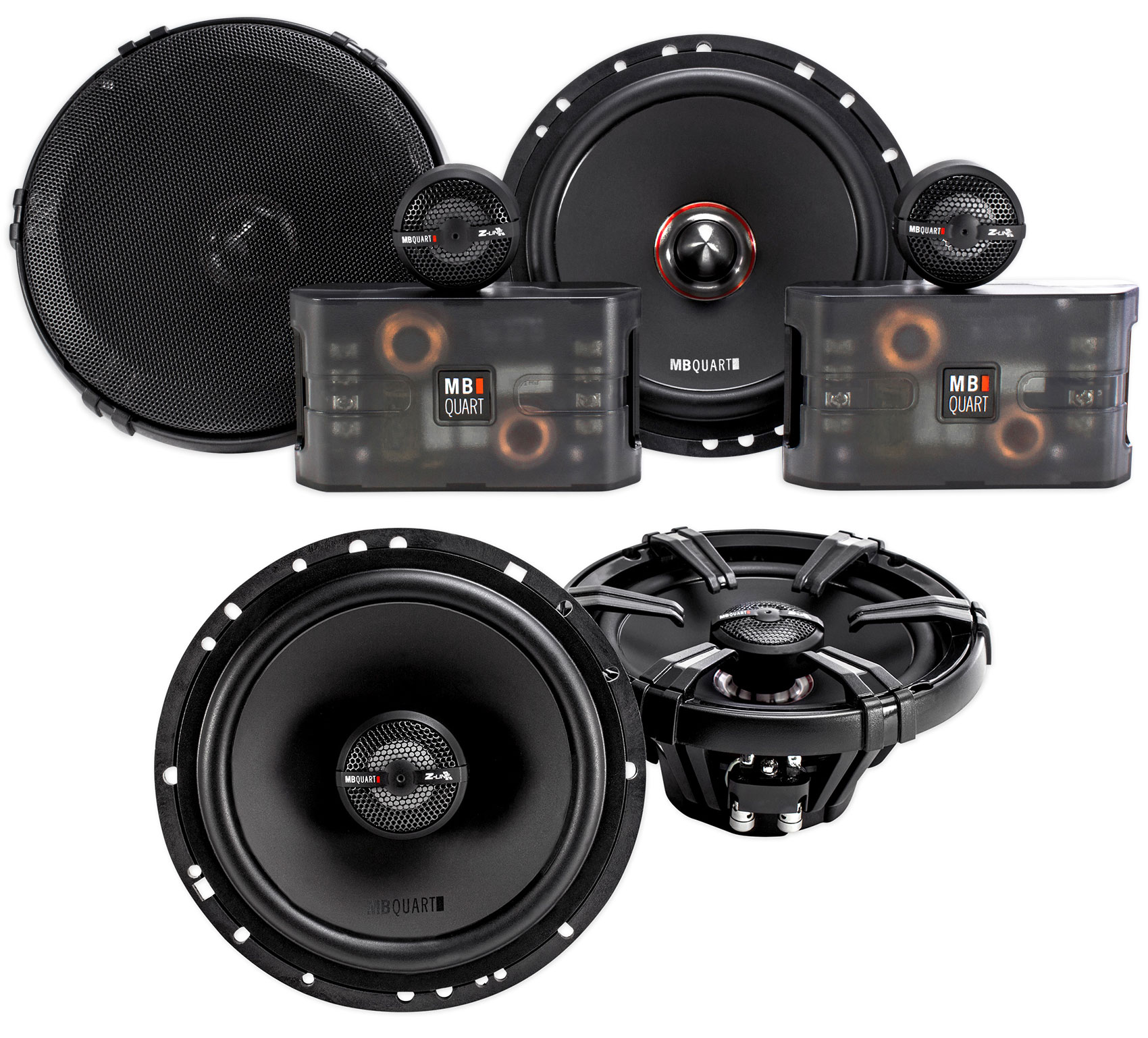 "Pair MB Quart ZC1-216 6.5"" 240w Component Speakers+(2) 6.5"" Coaxial Speakers"