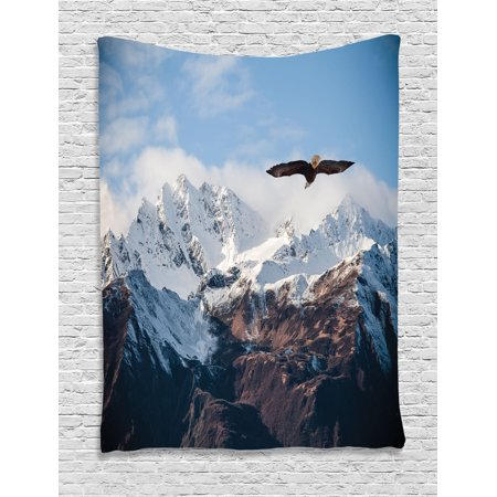 Apartment Decor Wall Hanging Tapestry, Frozen Peaks Tops Of The Mountain With A Flying Eagle Free In The Nature Photo, Bedroom Living Room Dorm Accessories, By Ambesonne