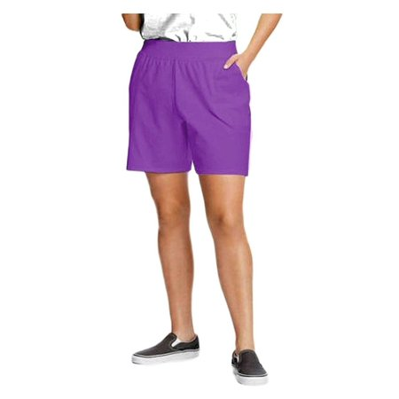 Just My Size by Hanes Plus Size Women's Jersey Essential Shorts - Style J333 (5X, Bright Violet)
