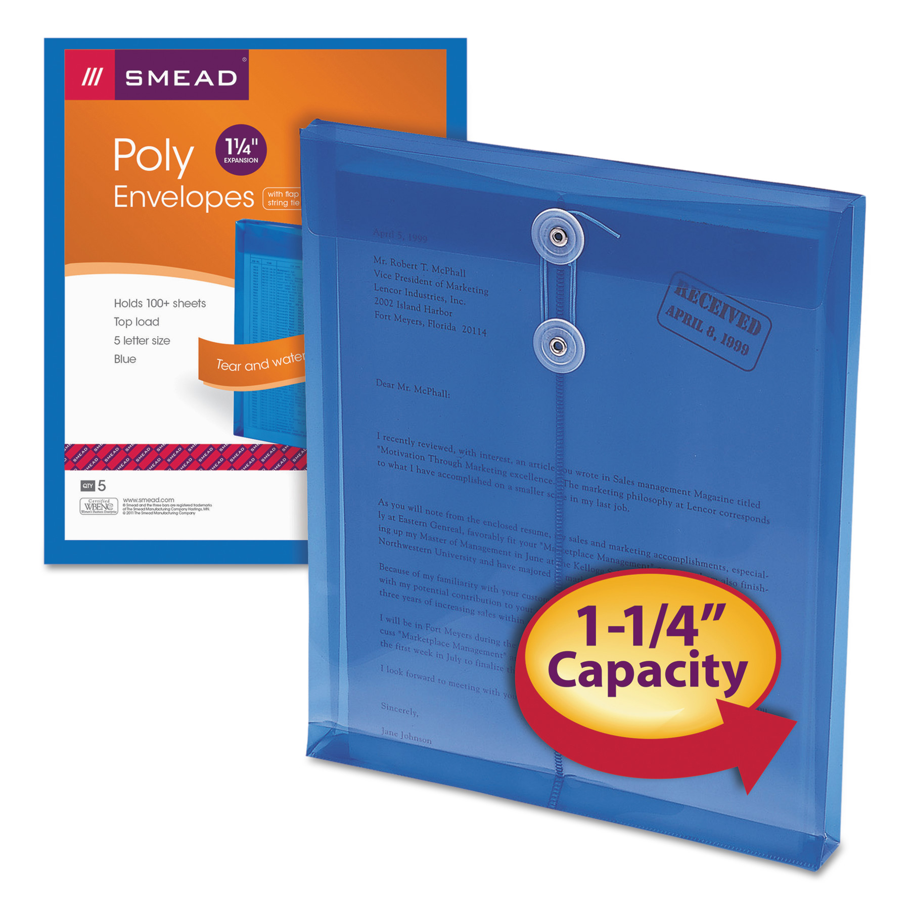 "Smead Poly Envelope, 1-1/4"" Expansion, String-Tie Closure, Top Load, Letter Size, Blue, 5 per Pack (89542)"