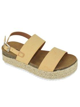 Soda Women Wedge Sandals Open Toe Ankle Strap Flatform Espadrilles Trim Platform Footbed Kazoo-S Beige Nude Skin 6