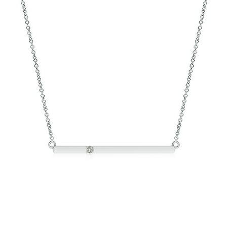 Valentine Jewelry gift - Solitaire Diamond Bar Pendant Necklace in 14K White Gold (1.7mm Diamond) - SP0786D-WG-KI3-1.7 (Bear Diamond Pendant)