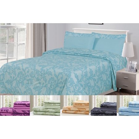 (6 Piece: HOTEL LUXURY Kendall Printed Bed Sheet Set, Platinum Extra Soft and Comfortable, Deep Pocket, Brushed Microfiber 1800 Bedding - Wrinkle, Fade, Stain Resistant -Hypoallergenic Queen, Spa Blue))