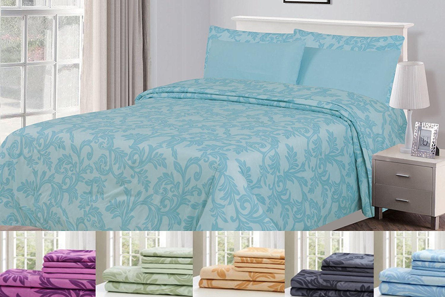 6 Piece: HOTEL LUXURY Kendall Printed Bed Sheet Set, Platinum Extra Soft  And Comfortable Deep Pocket Brushed Microfiber 1800 Bedding   Wrinkle,  Fade, ...