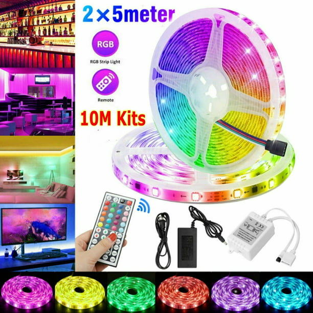16 4 32 8 49 2ft Rgb 3528 Water Resistant Led Strip Light Smd With 44 Key Remote 12v Power Supply Color Changing Flexible Strip For Tv Home Walmart Com Walmart Com