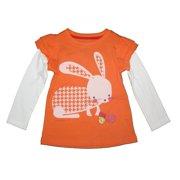 Little Girls White Orange Bunny Print Layered Sleeve T-Shirt 4-6X