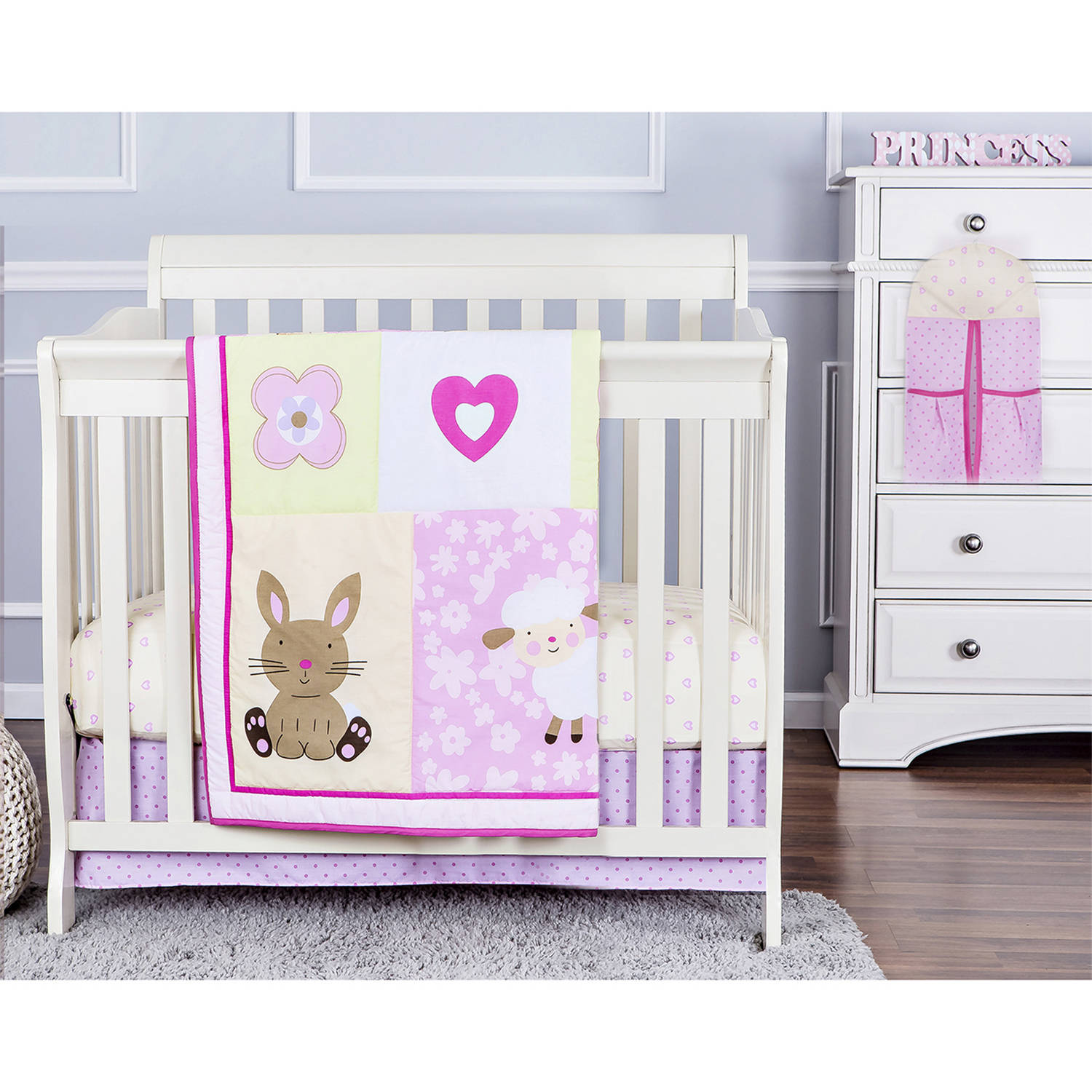 Dream On Me Naptime Friends 4-Piece Reversible Portable Crib Bedding Set