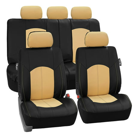 FH GROUP Perforated Leatherette Full Set Car Seat Covers Airbag Ready & Split Bench Function,