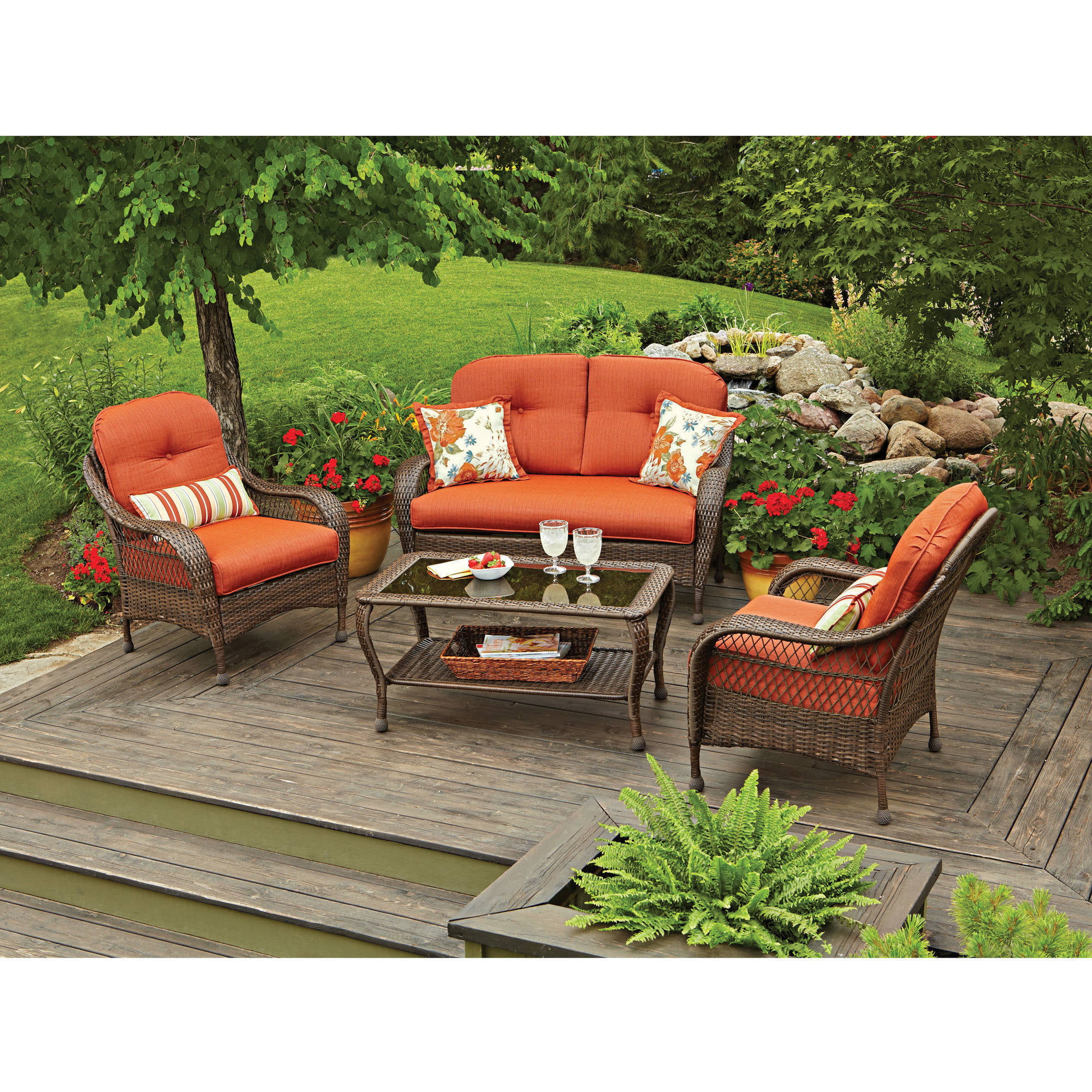 Palermo Outdoor Brown Wicker Piece Chat Set With Cushions - Wicker patio furniture sets