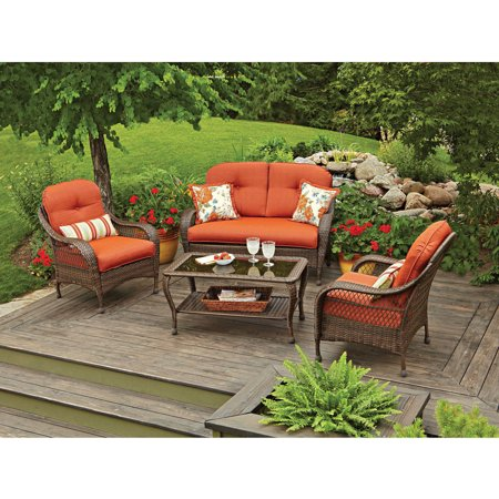 Better Homes and Gardens Azalea Ridge 4 Piece Patio Conversation Set  Seats  4. Better Homes and Gardens Azalea Ridge 4 Piece Patio Conversation