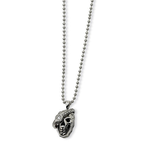 Jewelryweb Stainless Steel Skull with Diamond Necklace - 24 Inch