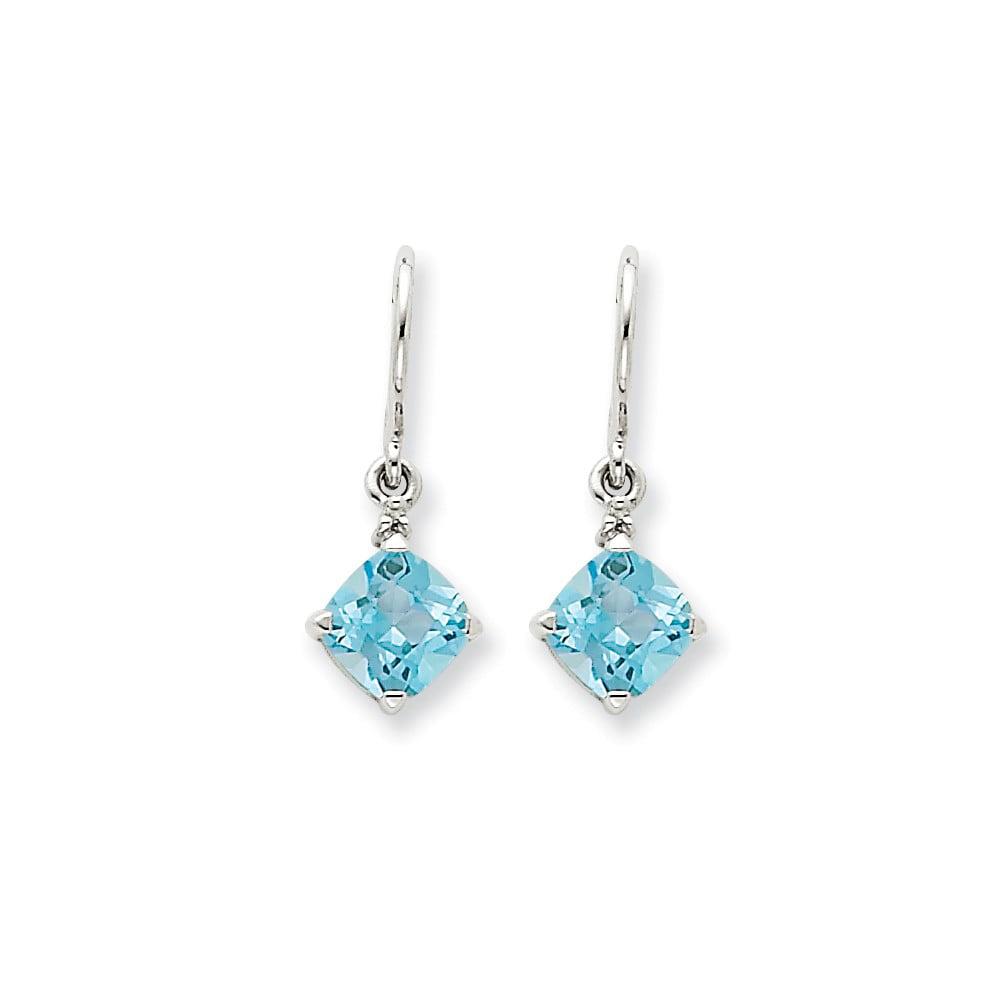 14k White Gold Blue Topaz & Diamond Shepherds Hook Dangle Earrings 2.11ct (0.8IN x 0.3IN)