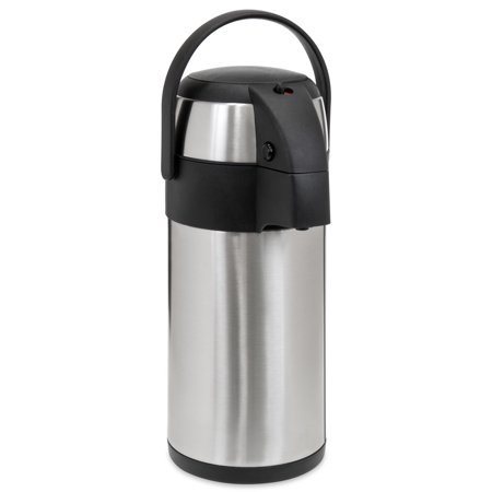 Best Choice Products 3L Stainless Steel On-the-Go Thermal Airpot Dispenser for Coffee, Hot and Cold Beverages w/ Safety Lock, Carrying Handle, Push Button, Cup - -