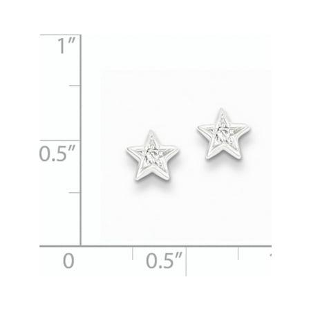 Argent 925 rhodi? DIAM. Boucles d'oreilles ?toile (post) de 6x6mm - image 1 de 2
