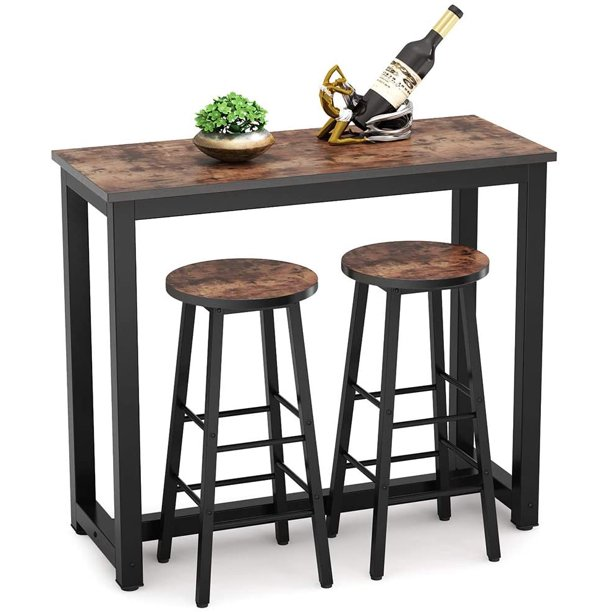 tribesigns bar table with stools 3piece pub table set