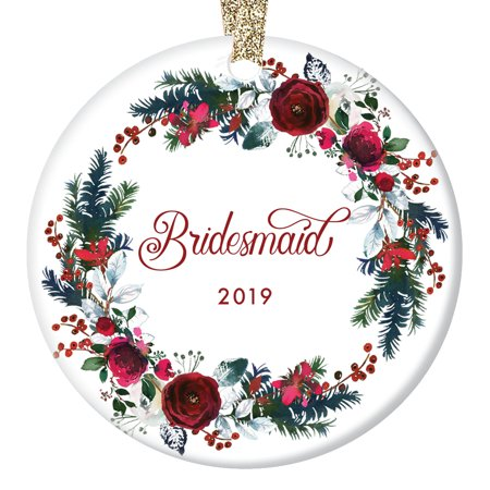 Bridesmaid Ornament 2019, Will You Be My Bridesmaid? Proposal Wedding Party Asking Bridal Marriage from Bride Christmas Present Ceramic 3