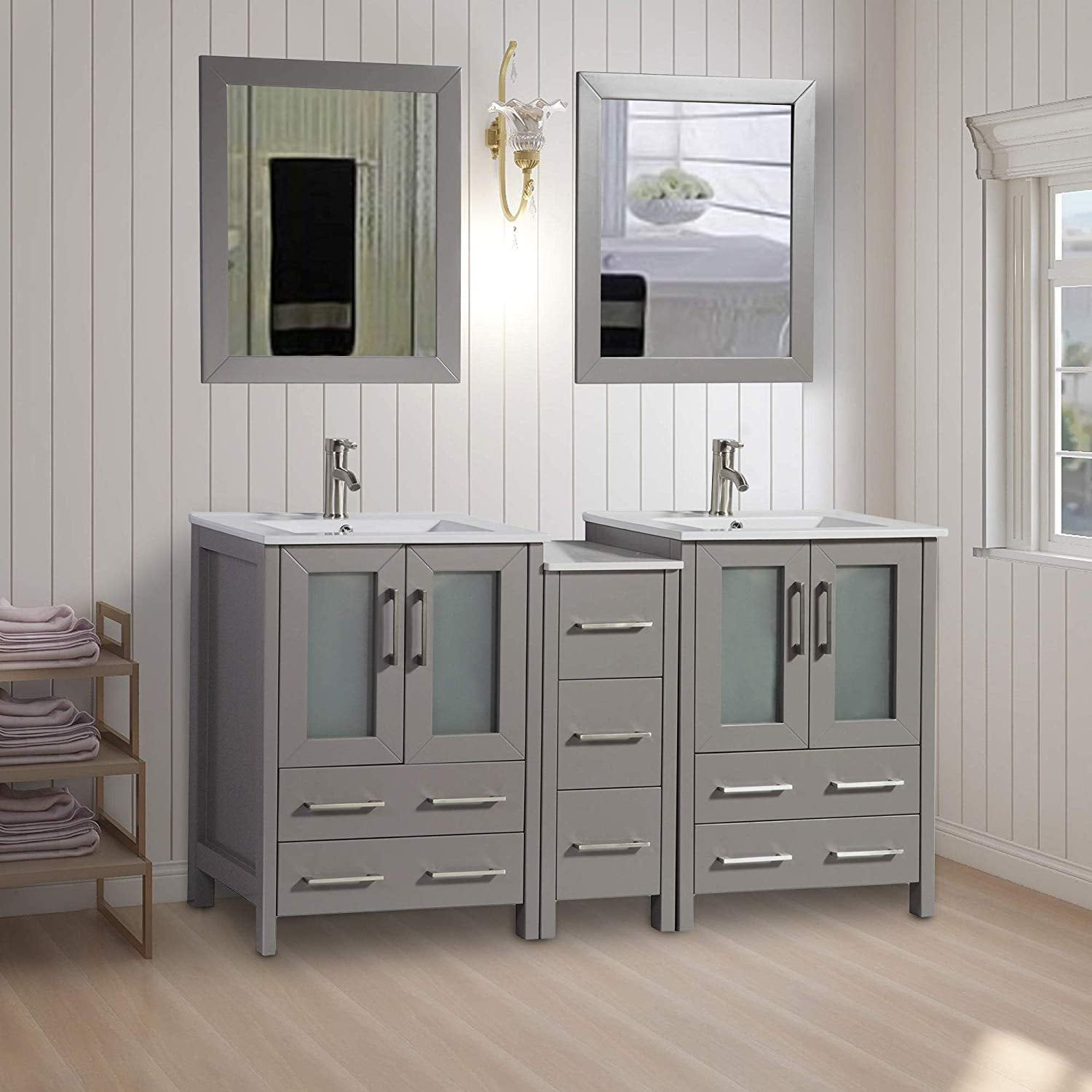 Vanity Art 60 Double Sink Bathroom Vanity Combo Set 7 Drawers 2 Shelves 3 Cabinets Ceramic Top Under Sink Cabinet With Mirror Va3024 60g Walmart Com Walmart Com