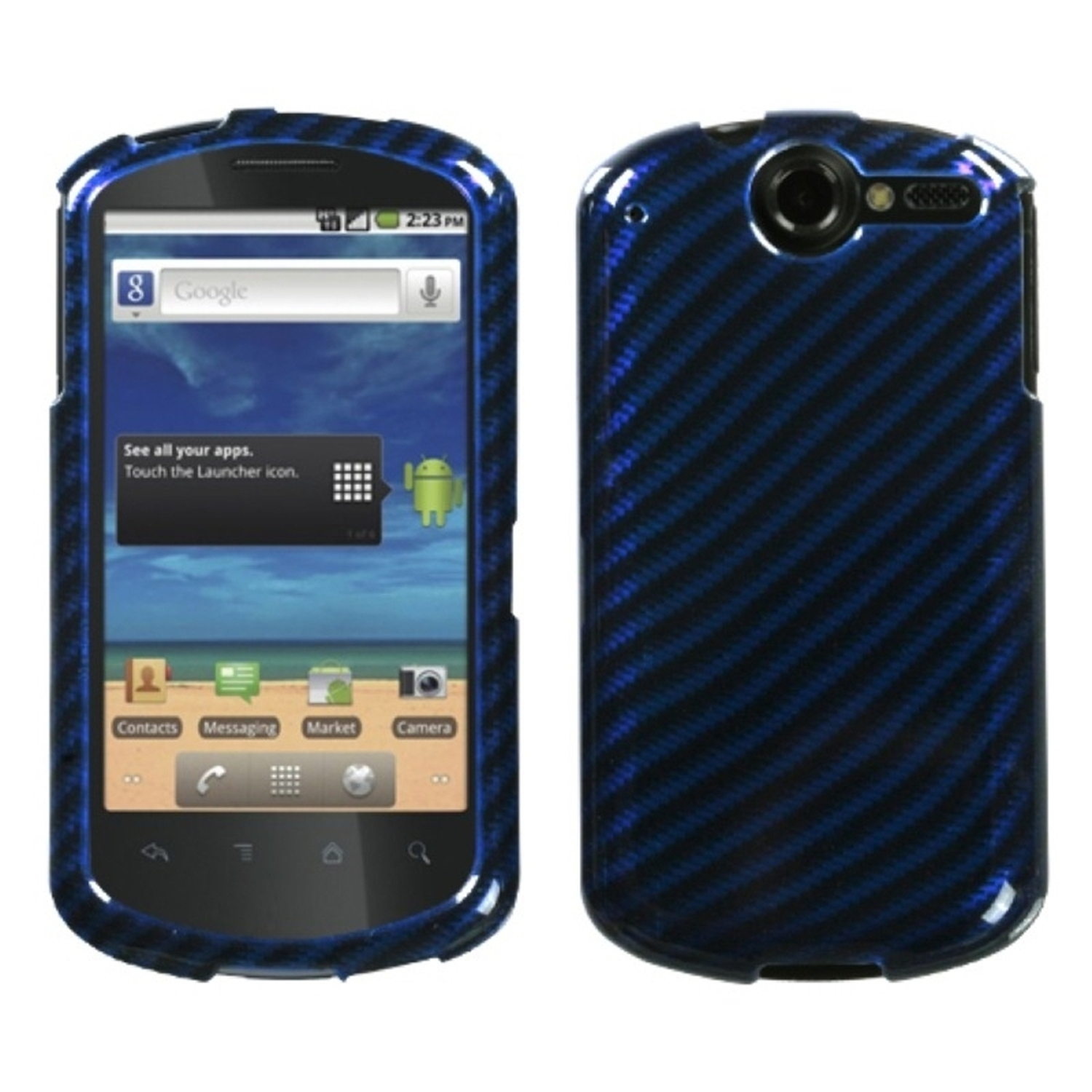 INSTEN Racing Fiber/Blue (2D Silver) Phone Case for HUAWEI: U8800 (Impulse 4G)