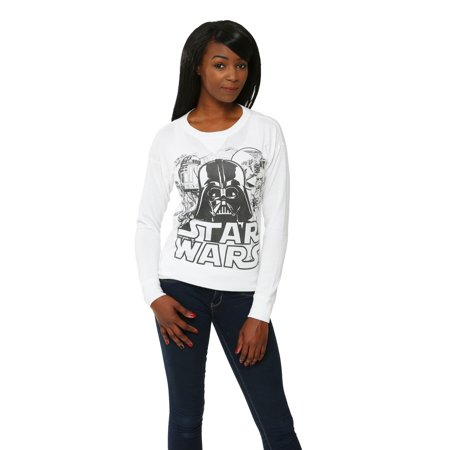 womens star wars black white cast pullover sweater. Black Bedroom Furniture Sets. Home Design Ideas