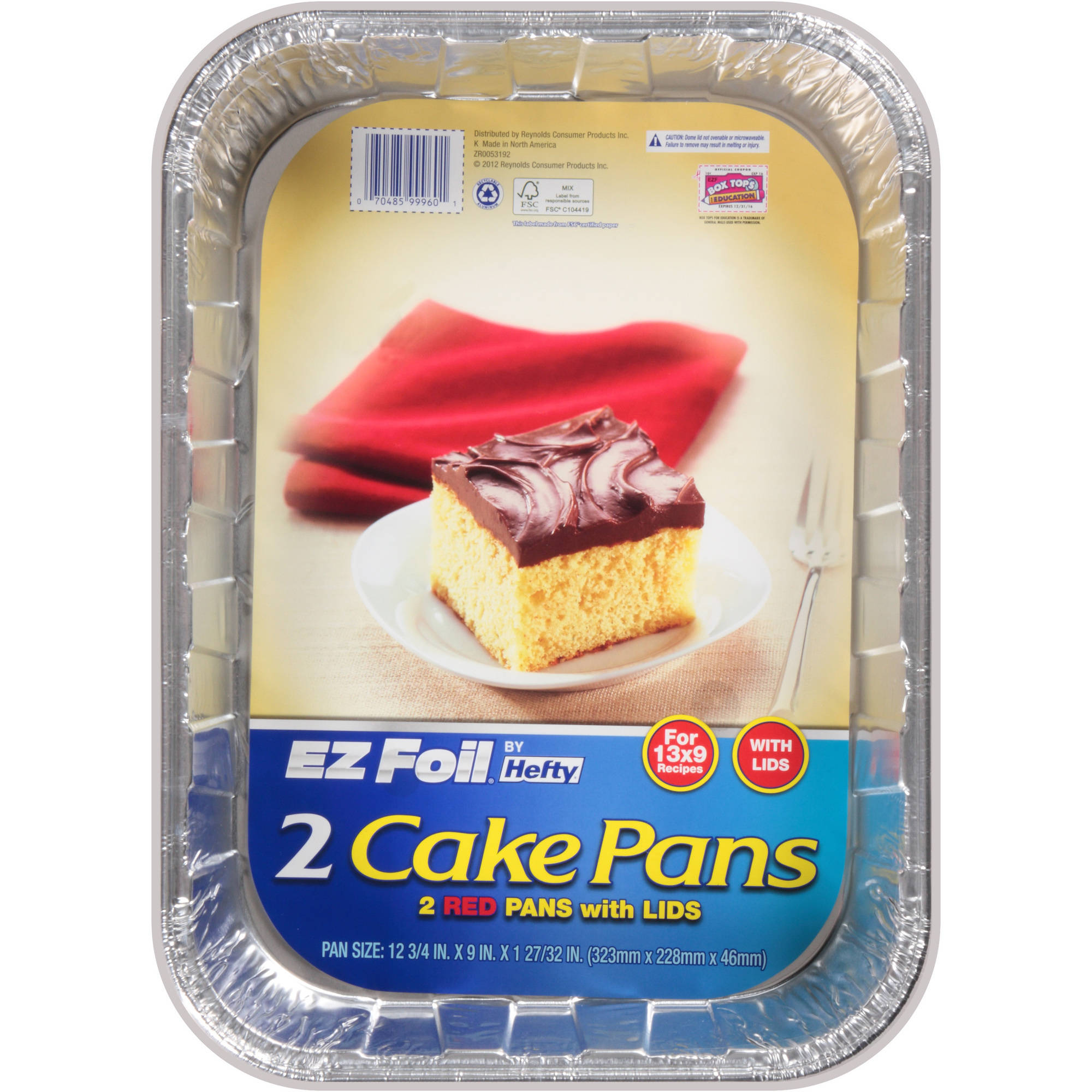 "Hefty EZ Foil 13"" x 9"" Cake Pans with Lids, Red, 2 ct"
